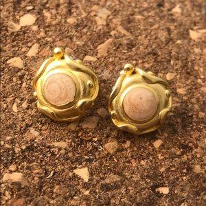 Vintage earrings light pink& golden